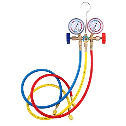 KKmoon Refrigerant Manifold Gauge Set Air Conditioning Tools with Hose and  Hook for R12 R22 R404A R134A