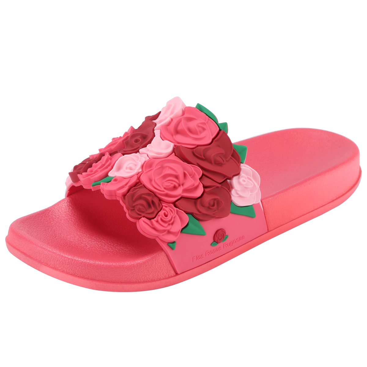 QIMAOO Women's Softey Flat Slide Sandals Slip On Open Toe Strappy Platform Wedge Slippers Summer Beach House Bath Shower Shoes for Indoor Outdoor Casual, Stylish, Durable and Comfortable