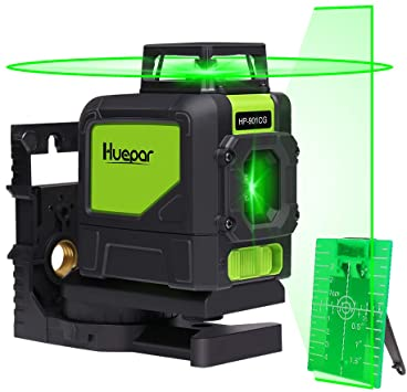 Niveau laser auto-nivelant Green Beam 3 x 360 Niveau laser en croix 3D et ligne dalignement Deux lignes verticales /à 360/° et une ligne horizontale /à 360/° Base pivotante magn/étique