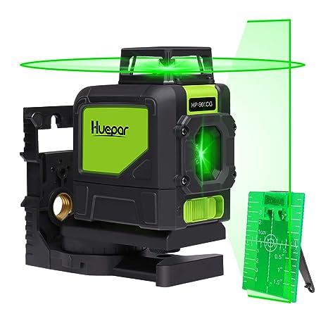 Huepar 901CG 1 x 360 Kreuzlinienlaser Grün, 360 Grad Linienlaser Selbstnivellierenden Laser Level mit Pulsfunktion, Umschaltb