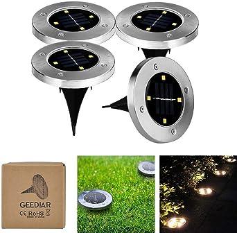 geediar lámpara de solar de suelo, farola luces, luz exterior IP65, lámpara de jardín Solar, luces solares de césped, 100lm 4 pcs LED lámparas solares (lote de 4): Amazon.es: Iluminación