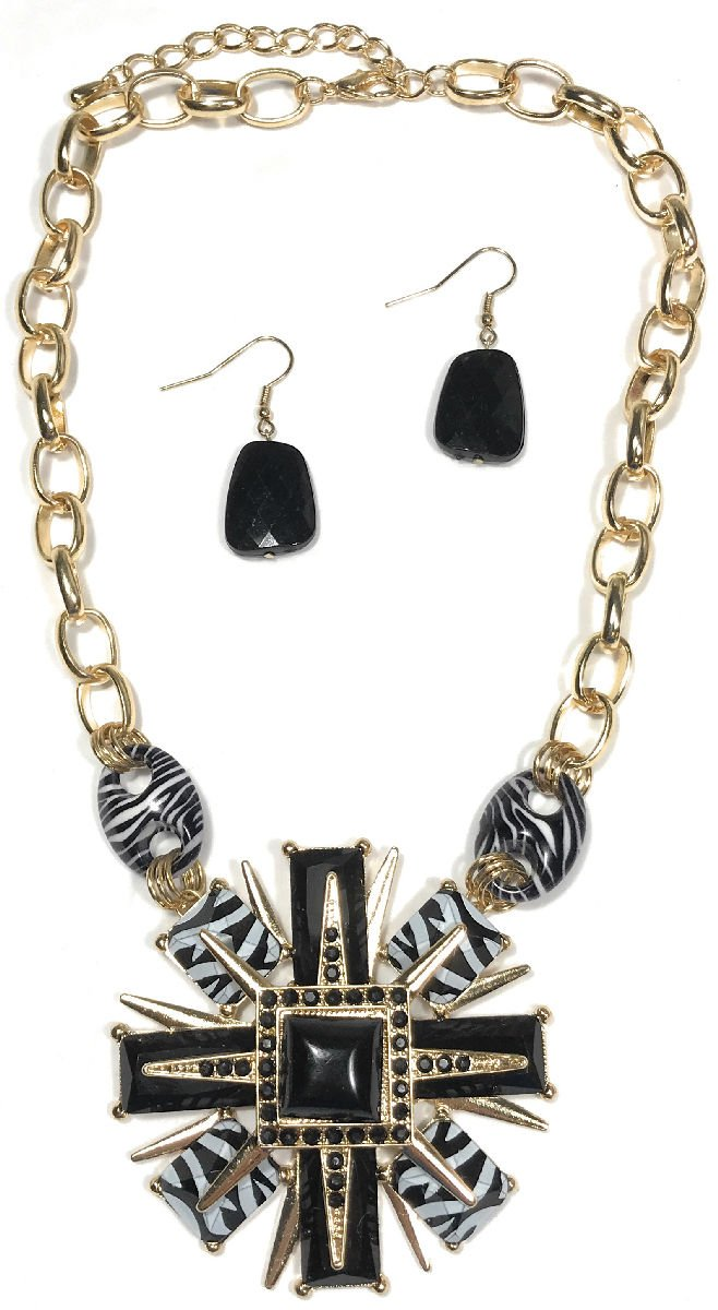 Dave's Collections Black White Zebra Animal Print Statement Pendant Chain Necklace Earring Set 18''