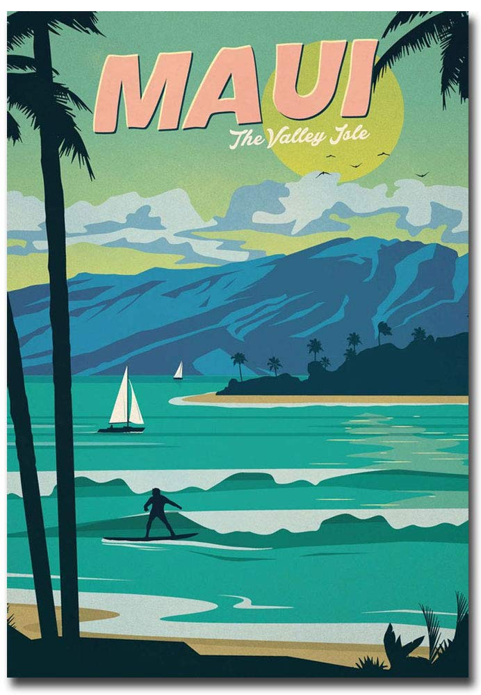 "MAUI Island Travel Vintage Art Refrigerator Magnet Size 2.5"" x 3.5"""