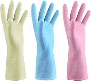 Mulfei Cleaning Gloves Kitchen Gloves Dishwashing Rubber Gloves Reusable,Latex Free and No lining Fit Your Hands Well,Size Large,3 Pairs (Macarone Color, Large)
