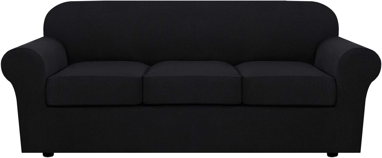 H.VERSAILTEX 4 Piece Stretch Sofa Covers for 3 Cushion Couch Covers for Living Room Furniture Slipcovers (Base Cover Plus 3 Seat Cushion Covers) Upgraded Thicker Jacquard Fabric (Sofa, Black)