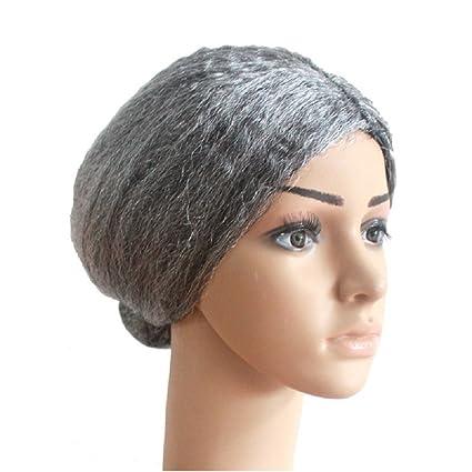 Deesos 1 pzas Cosplay pelucas Old Lady Grandma Granny peluca gris ...