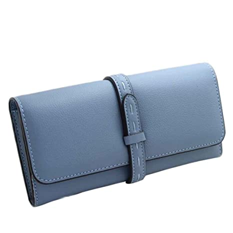 Monedero Larga Cartera de Grandes Piel de Moda Azul para Mujer W