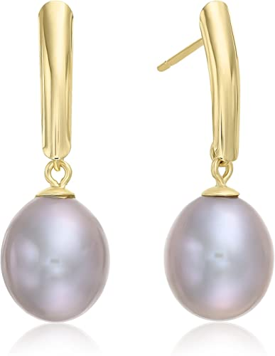 Toc Gold Plated Semi Baroque Dyed Brown Freshwater Cultured Pearl Drop Earring