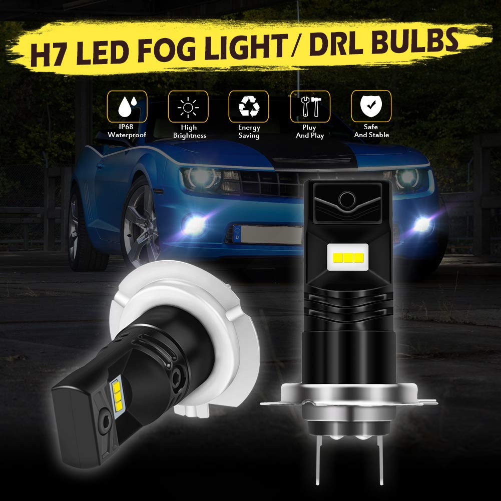 3 Year Warranty KaTur 5202 5201 H16 Led Fog Light Bulb Extremely Bright 1600 Lumens Max 80W High Power CSP Chips 6500K Xenon White Replace for Fog Light or Daytime Running Light DRL