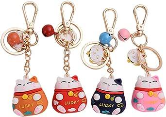 ABOOFAN 4PCS Lucky Cat Keychain with Bells Pendants Japanese Fortune Lucky Beckoning Cat Maneki Neko Keyring Soft Plastic Bag Charms Key Ring Pendants for Handag Backpack Phone Funny Gifts