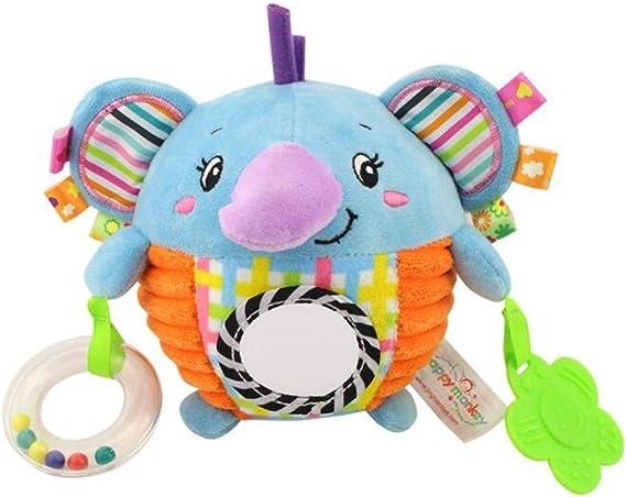 Juguete azul del elefante del bebé con la bola Etiquetas coloridas ...