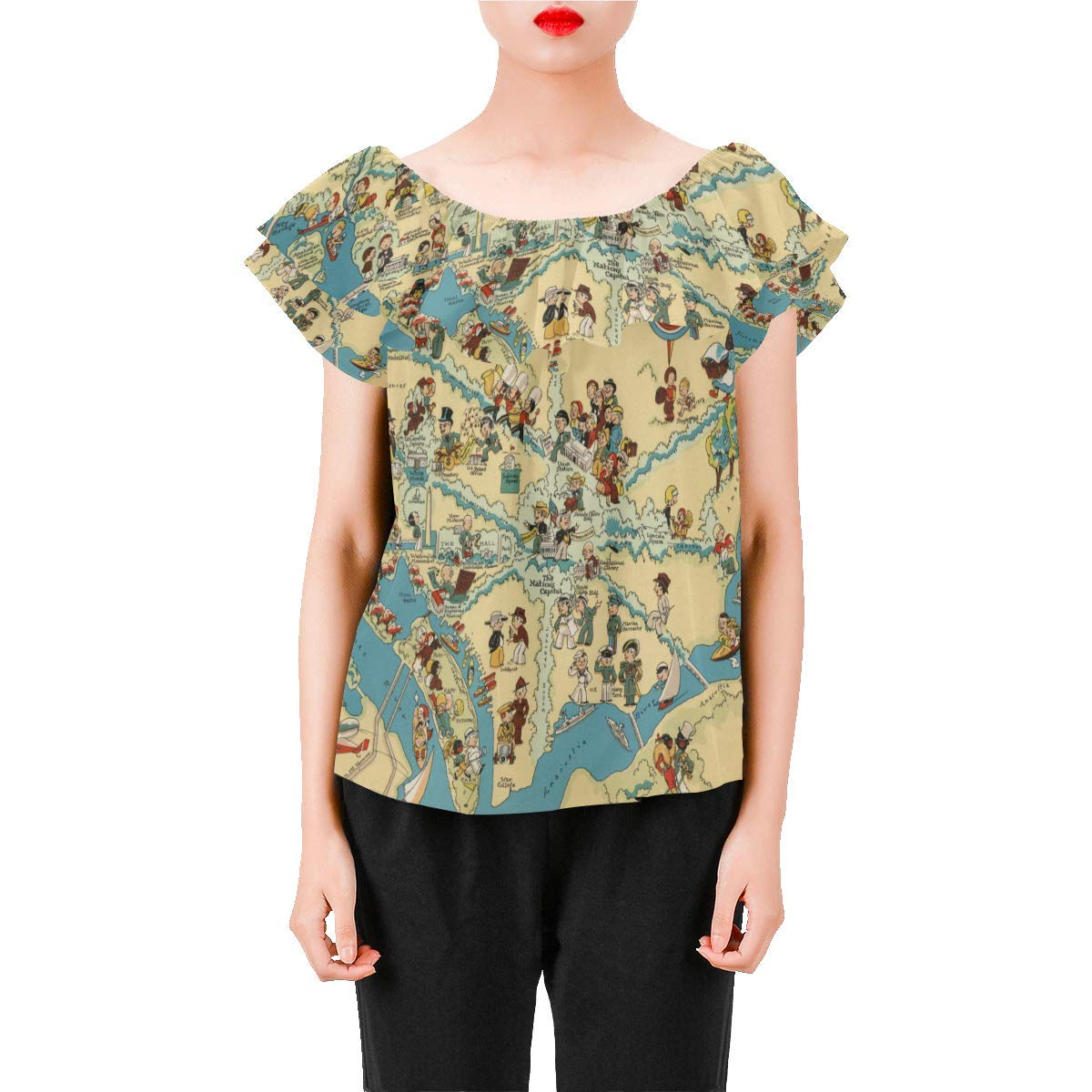 Vintage 1935 District of Columbia State Map Womens A-Line Chiffon Blouse Shirt Tops