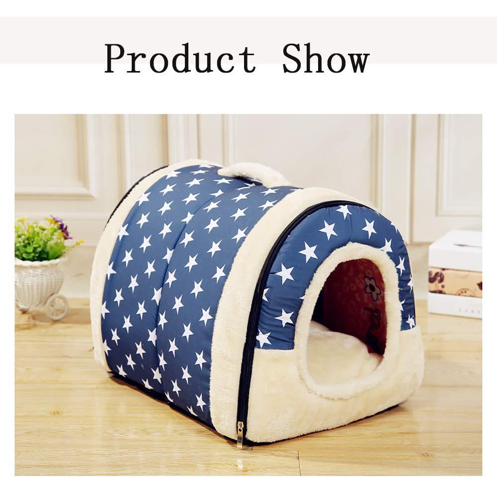 bluee L6045cm bluee L6045cm Pet Supplies Kennel Cat Litter Mattress, Washable Winter Warm Comfort Suitable for All Dogs,bluee,L6045Cm