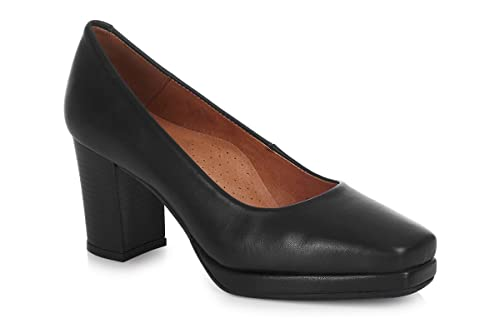 a08e498c0 Aerobics 6002 Black Leather Square Toe Platform Crew Shoe: Amazon.co ...