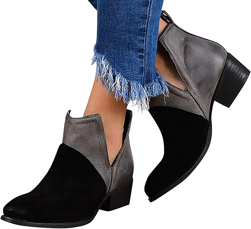 Details about  /Casual Women/'s Round Toe Block Heels Zipper Ankle Boots Lady OL Shoes 41 42 43 D