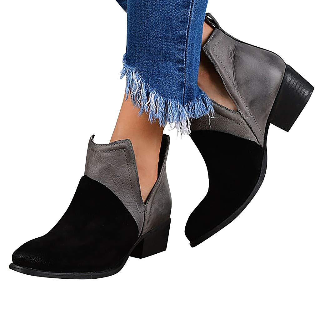 Women's Wide Width Ankle Boots - Mid Chunky Block Heels Round Toe Slip on Side V-Cut Booties (US:7.0, Black)