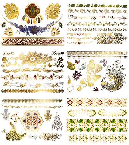 Premium Color & Metallic Temporary Tattoos - 75+ Boho, Floral Henna Shimmer Jewelry Tattoos- Designs in Gold, Blue,