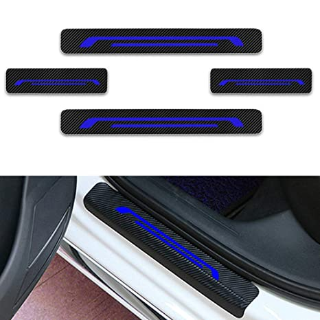 for Fiat 500 Door Sill Protector Reflective 4D Carbon Fiber Sticker Door Entry Guard Door Sill Scuff Plate Stickers Auto Accessories 4PCS Blue