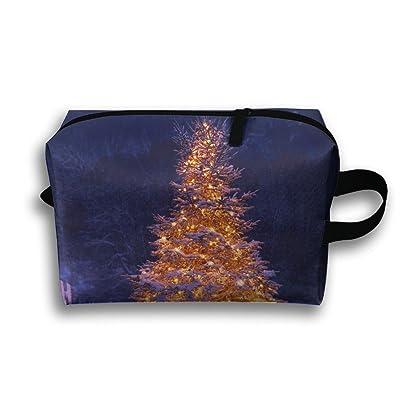 RONG FA 3d Winter Tree Christmas Portable Travel Makeup Bag,Storage Bag Portable Ladies Travel Square Cosmetic Bag