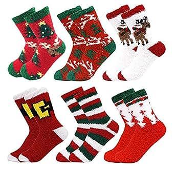 October Elf 6 Pack Women Christmas Socks Winter Warm Cozy