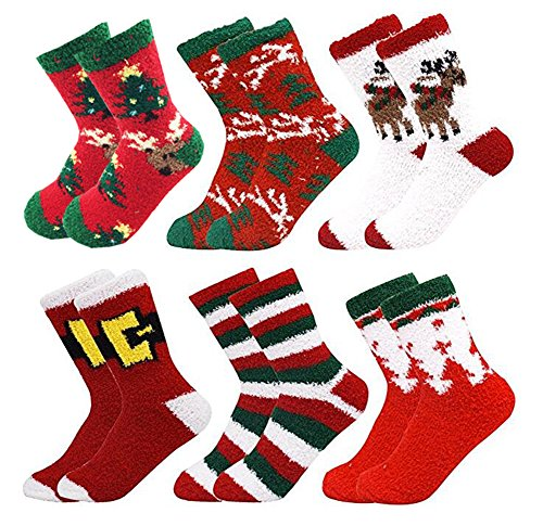 6 Pairs Adult Christmas Holiday Socks Warm Winter Cozy Socks...