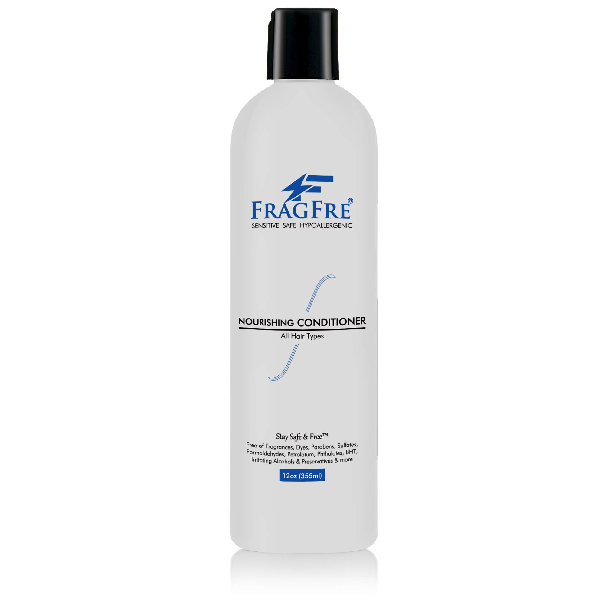 FRAGFRE Fragrance Free Conditioner 12 oz - Sulfate Free Parabens Free Hypoallergenic - Hair Conditioner for Sensitive Skin - Deep Conditioning for Normal Treated and Fragile Hairs - Gluten Free Vegan by FRAGFRE