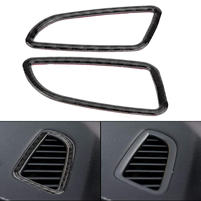 Germany Style Cuque 2 Pcs Car Air Conditioning Outlet Sticker Durable Carbon Fiber Dashboard Car Air Conditioning Outlet Cover Trim for C Class W205 C180 C200 GLC