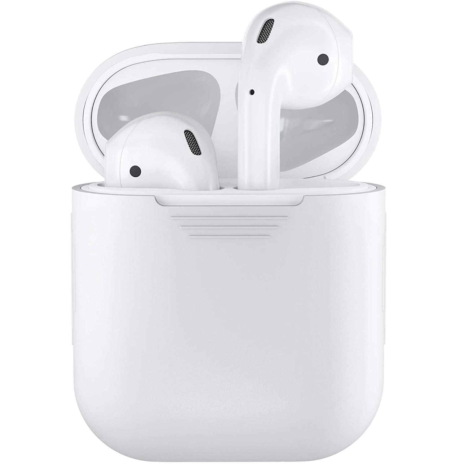 purchase cheap bbc9f 314a4 PodSkinz AirPods Case Protective Silicone Cover and Skin Compatible with  Apple Airpods 1 & AirPods 2 [Front LED Not Visible] Charging Case (White)