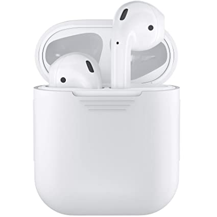 purchase cheap d59b3 03852 PodSkinz AirPods Case Protective Silicone Cover and Skin Compatible with  Apple Airpods 1 & AirPods 2 [Front LED Not Visible] Charging Case (White)
