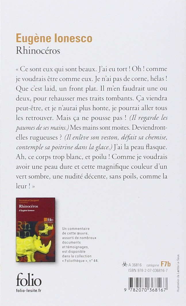 Rhinoceros Ionesco Eugene 9782070368167 European Amazon Canada