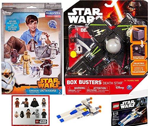 Star Wars Blueprints & Box Busters Death Star Mini Spaceship Set + Paper Figures Droids on Tatooine Desert Bundle R2-D2, C-3PO, Luke Skywalker, Storm Troopers Buildable toy Bundle + Stickers
