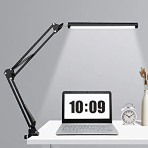 LED Desk Lamp, Swing Arm Desk Lamp with Clamp, Eye-Caring Table Lamp for Home, Work,Drawing, Reading, Office (3 Light ing Modes, 9-Level Dimmer, 5V/2A USB Charging Port)