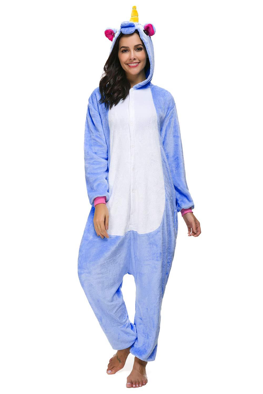 chuangminghangqi Kigurumi Pigiama Unisex Adulto Cosplay Costume Attrezzatura Animale Camicie da Notte Carnevale Halloween (Taglia S(altezza 150cm-158cm), Stella Unicorno)