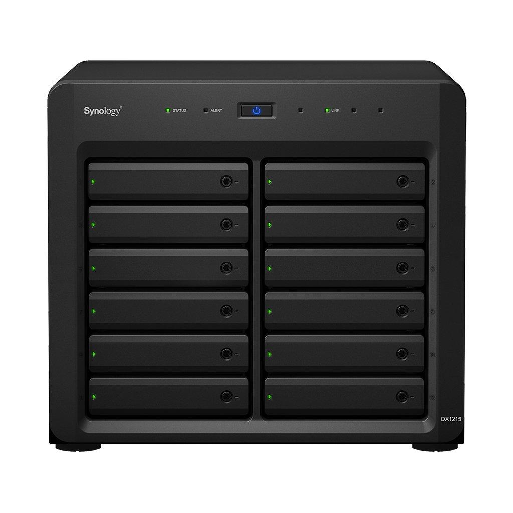 Synology DX1215 24TB Compacto Negro Unidad de Disco Multiple - Unidad de Disco múltiple (Unidad de Disco Duro, 24 TB, Unidad de Disco Duro, SSD, 120 TB, SATA, 2000 GB)