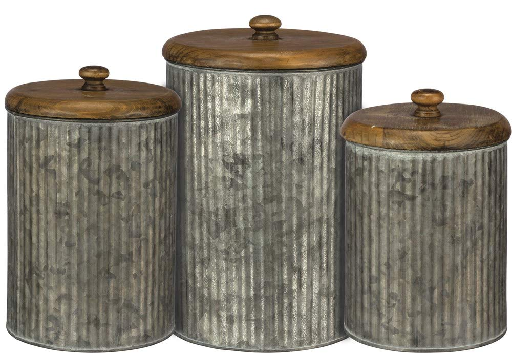 Primitives by Kathy 37690 Farmhouse Tin Canisters, 3-Piece, Distressed