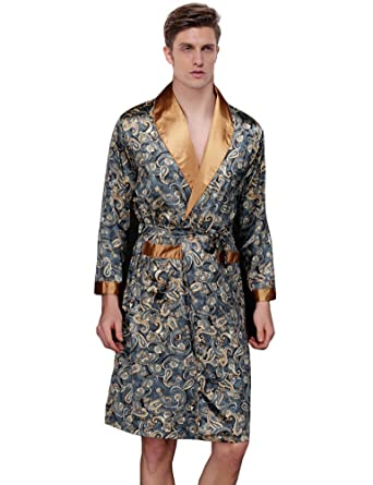 Waymoda Mens Luxury Silky Satin Evening Dressing Gown, Male Classic Elegant Paisley Pattern Kimono Wrap