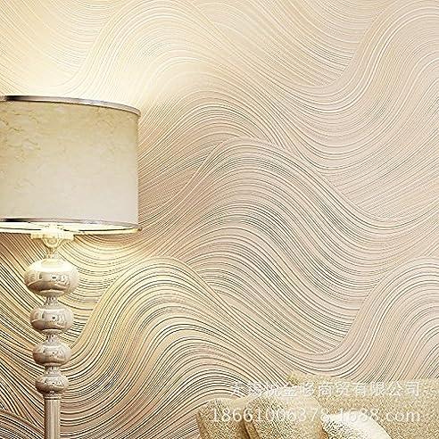 Moderne Und Einfache 3D Wohnzimmer Schlafzimmer Fernsehwellen Streifen  Vlies Tapete Hintergründe , Light Beige 123003