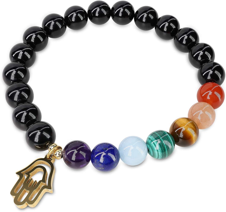 COAI Pulsera Unisex de Turmalina Negra con Piedras de 7 Chakras y Amuleto Mano de Fátima