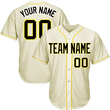 d9c7c30ee58 Custom Men s Cream Full Button Baseball Jersey with Embroidered Team Name  Player Name and Numbers