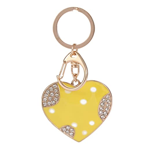 Damara Womens Stylish Lovely Heart Pattern Pull Snap Key Ring (Yellow) 25a8b9294c