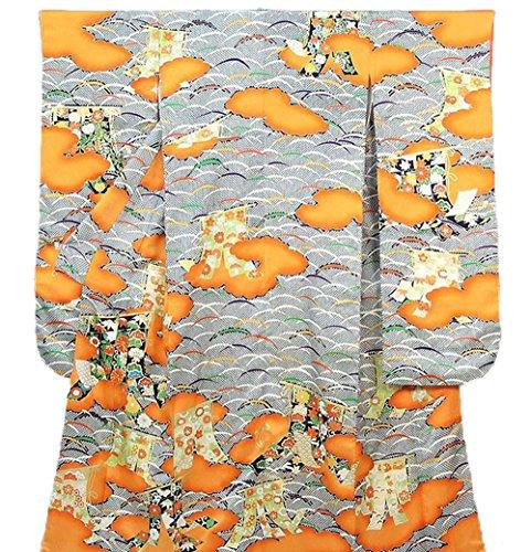 津波臭い効果的きもの翔鶴 振袖 正絹 四季花雲取幔幕