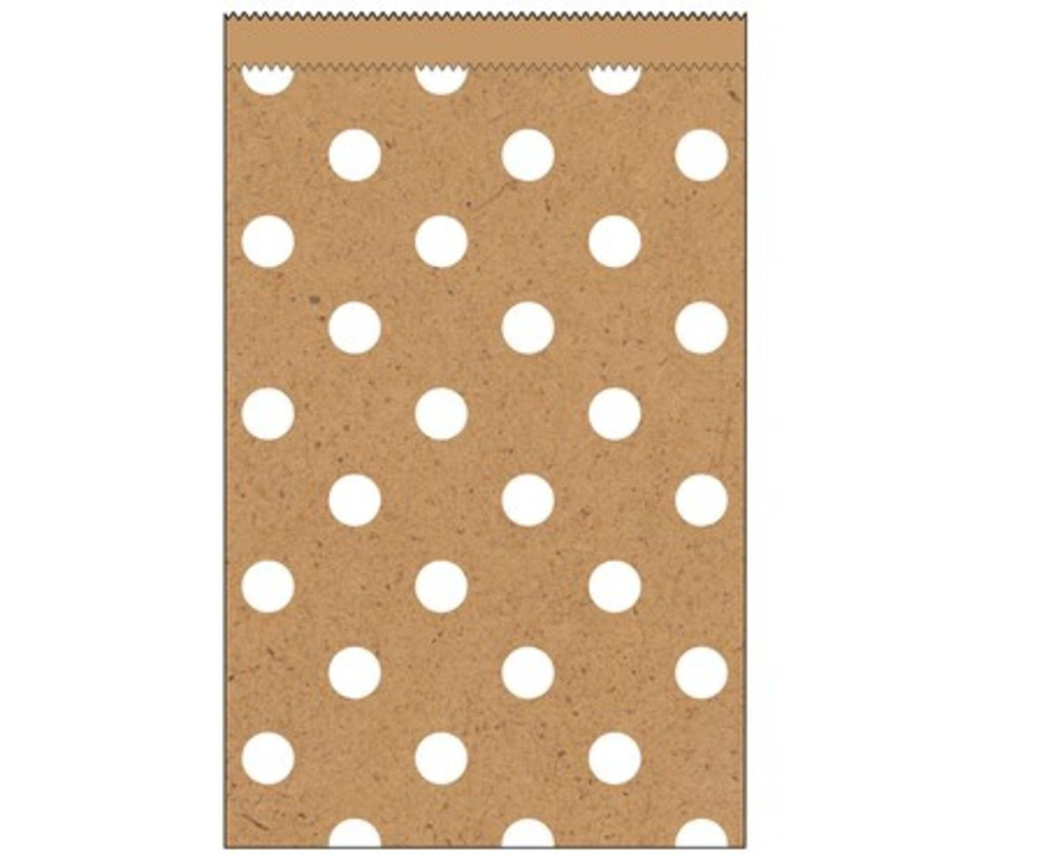Club Pack of 240 Kraft Natural Brown and White Polka Dots Small Decorative Paper Party Treat Bags 4''