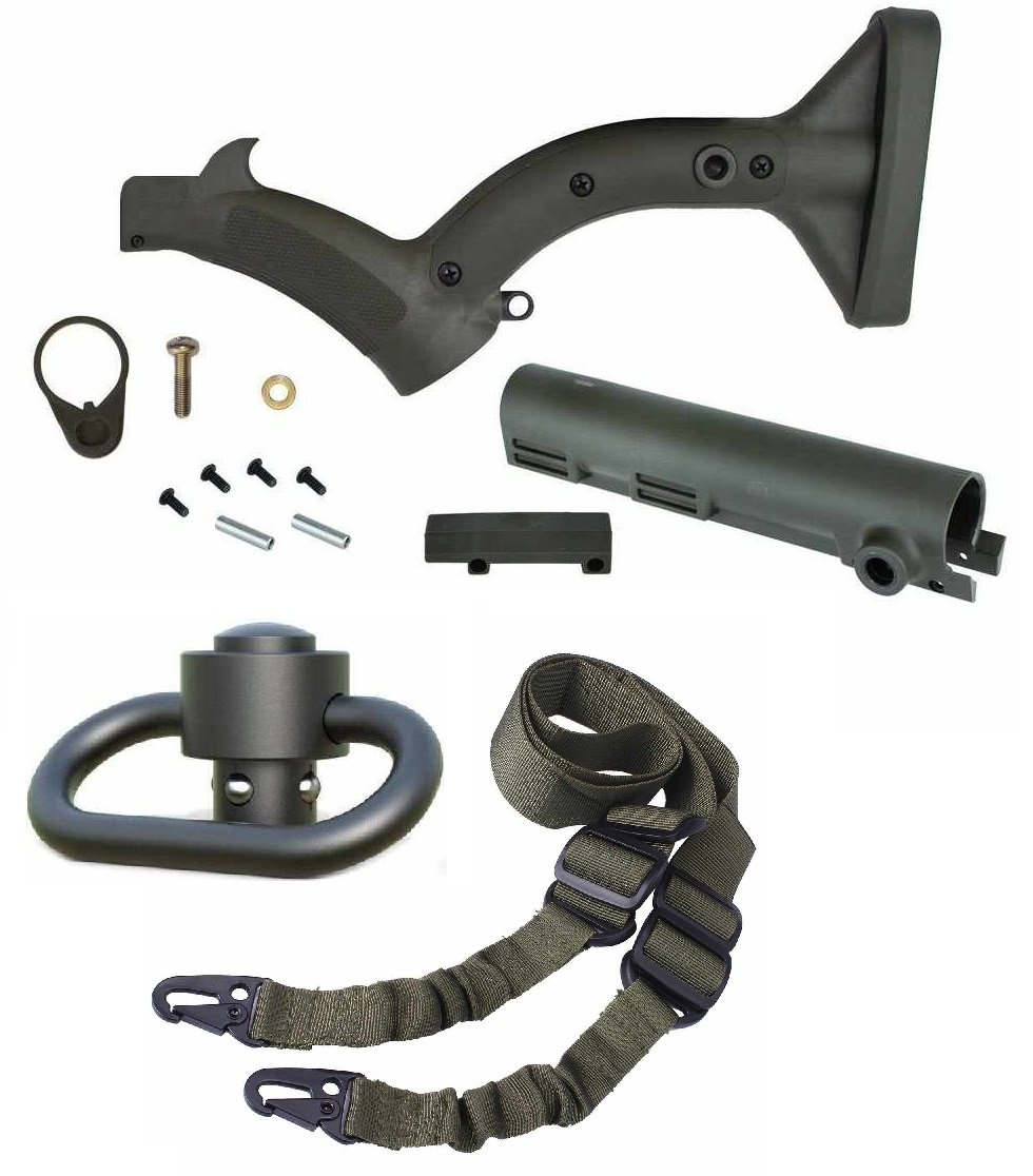 Thordsen Customs OD Olive Drab Green FRS-15 Enhanced Buttstock Stock Kit with Rubber Buttpad & Swivel Tube Cover Kit Legal in CA NY + Ultimate Arms Gear Push Button Swivel + Sling, OD Green