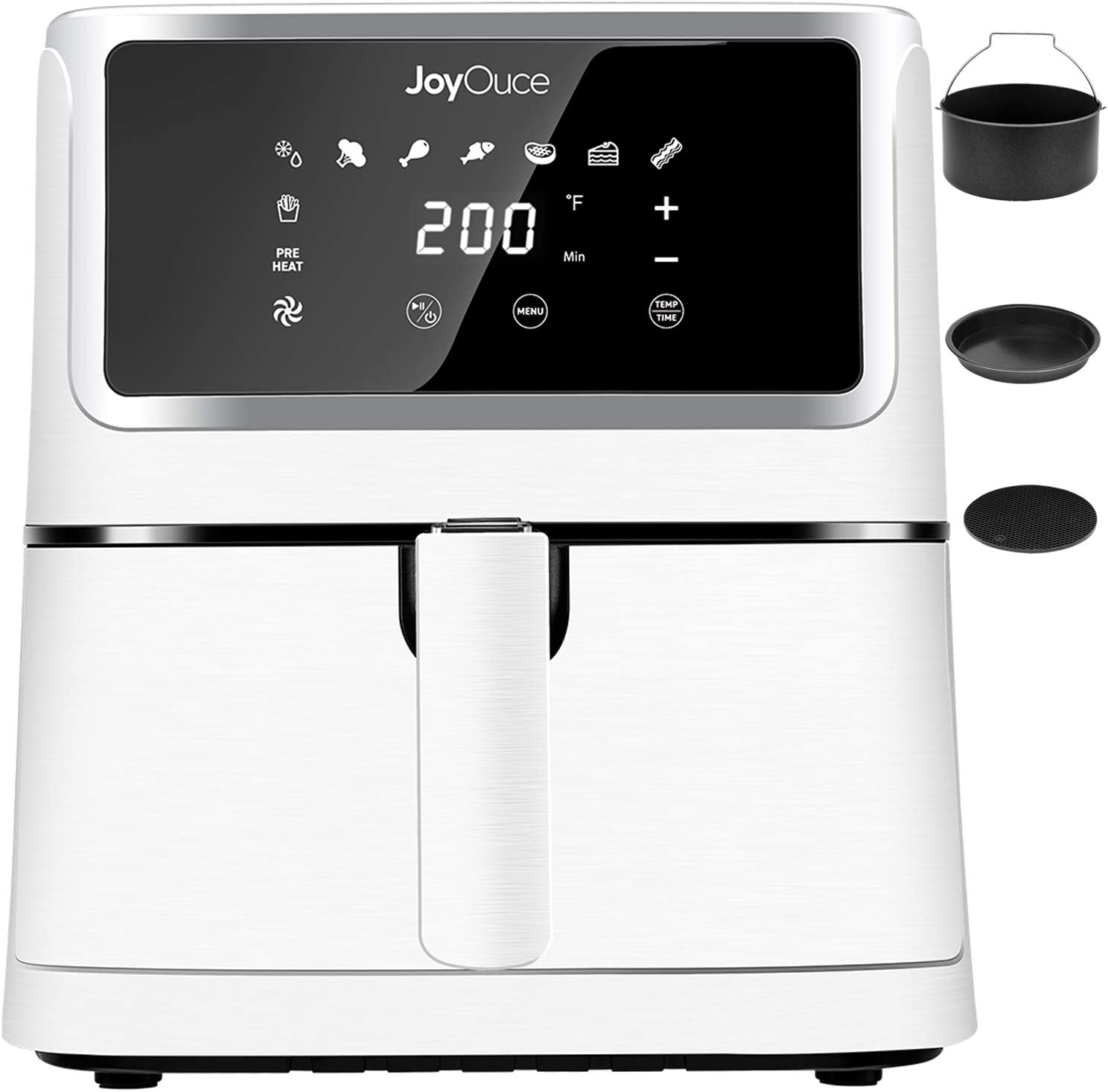 JOYOUCE Air Fryer XL with 3 Extra Air Fryer Accessories,5.8 QT Large Air Fryer Oven Smart Touch Screen with 8 Presets Air Fryer Combo for Roast/Bake/Grill Power 1700W