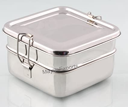4ebba7c81e39 Peacock Stainless Steel Square 2 Tier Big Lunch Box, 3.5-inch, Silver