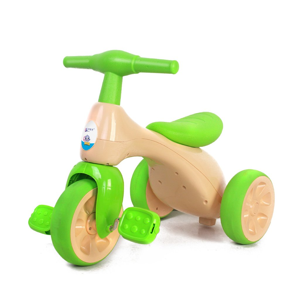 XQ 赤ちゃん 子供 18ヶ月以上 衝撃吸収 耐摩耗性 ホイール素材はTPRです 三輪車 子ども用自転車 ( 色 : 緑 ) B07C6SVSBH緑