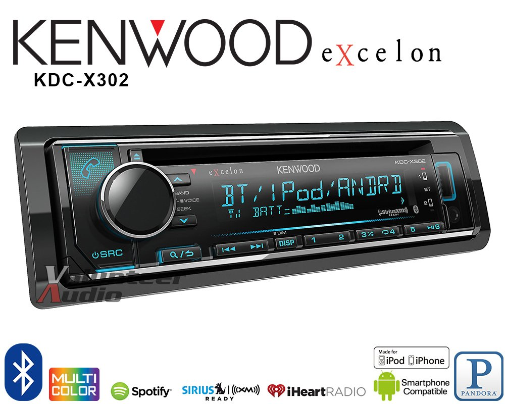 Kenwood Excelon Kdc X302 Cd Receiver W Bluetooth Front 300 Player Wiring Diagram Usb Siriusxm Ready Spotify Pandora And Iheart Link For Iphone Or Android Phones Car