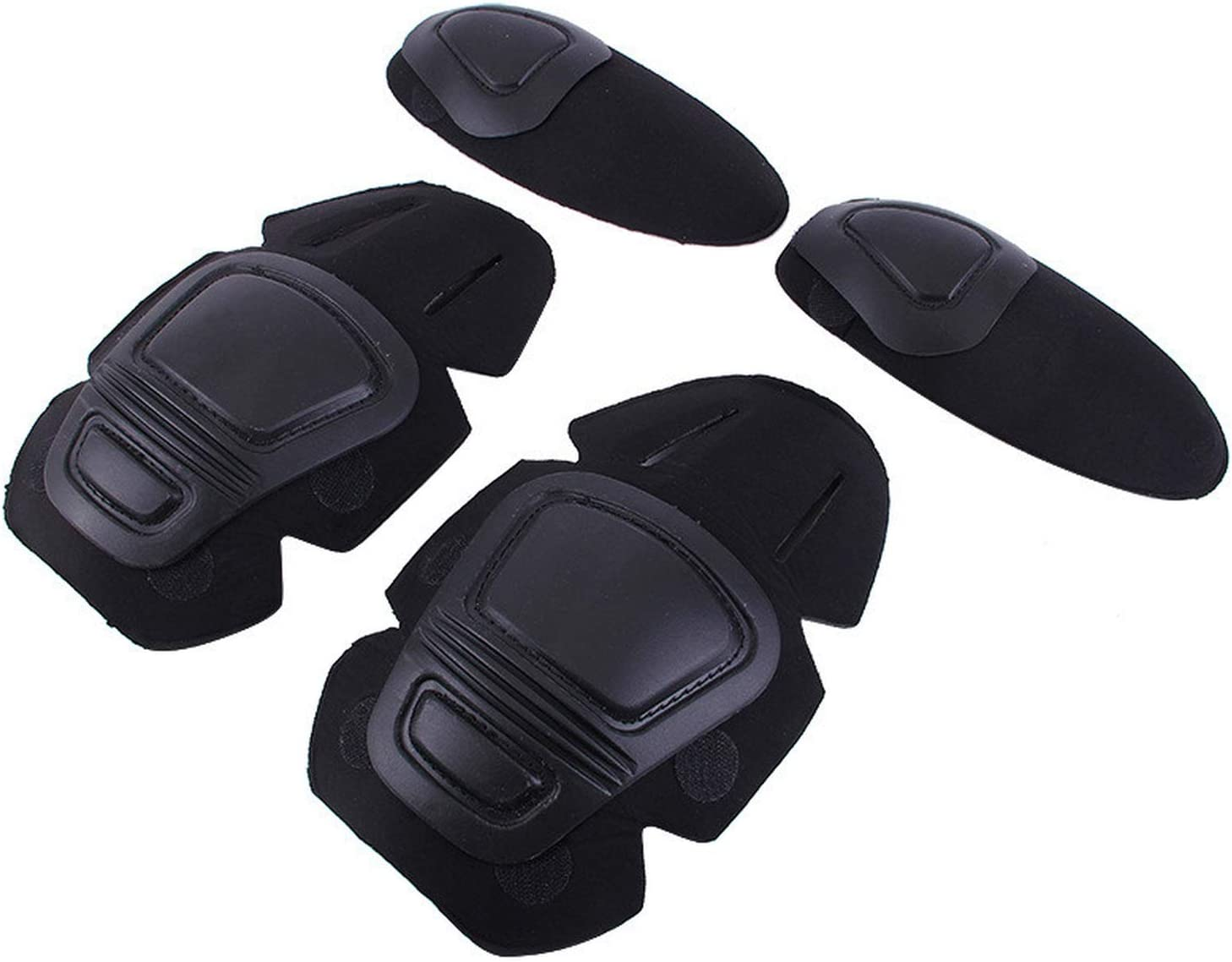 Tactical Knee and Elbow Protector Pad For Paintball Airsoft Combat Uniform Military Suit 2 knee pads /& 2 elbow pads//Set,BLACK