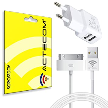 actecom® Cargador B Pared Doble MAS Cable USB Blanco para iPhone 4 iPad 2 3 4