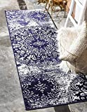 """Unique Loom Sofia Collection Navy Blue 2 x 7 Runner Area Rug (2' x 6' 7"""")"""